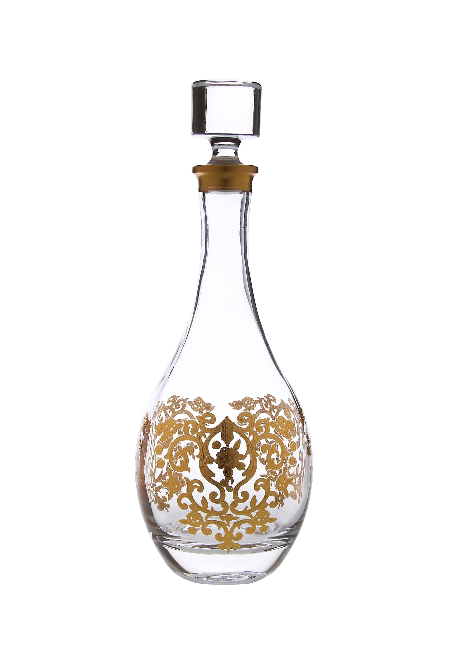 Wine Decanter with Rich Gold Artwork