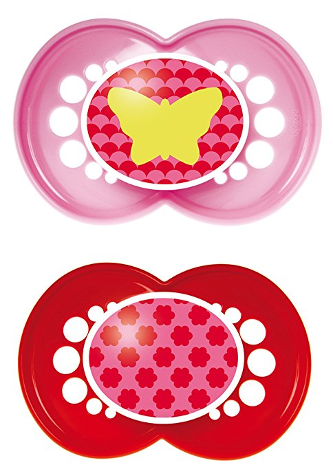 MAM Trends Silicone Orthodontic Pacifier, Girl, 6+ Months, 2-Count