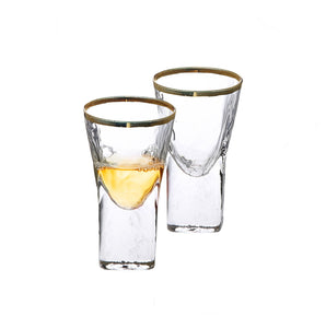 Set of 6 Pebble Glass Liquor Glasses with Gold Rim