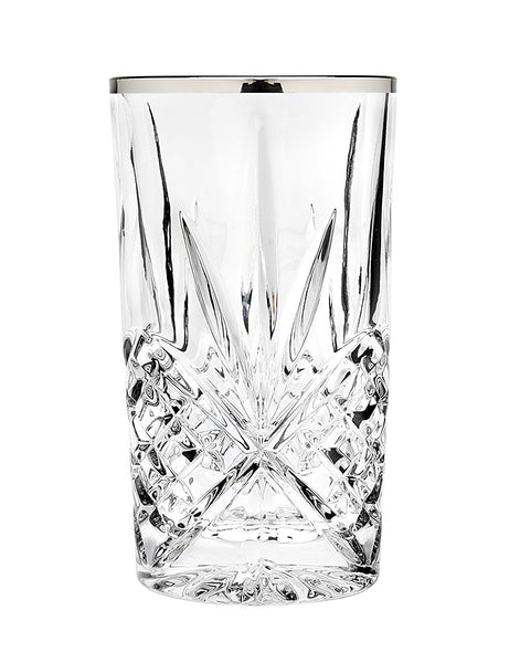 Godinger Silver Art Dublin Set of 4 Highball Glasses- Platinum