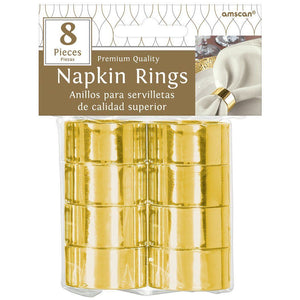 Round Gold Plated Napkin Rings - 8 Count
