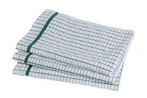 STAR 100% Cotton Dish Towels - Grade Absorbent White Kitchen Towels Check Design (Green)