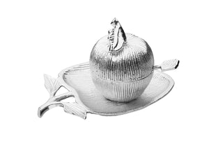 Silver Apple Shaped Dish with Removable Honey Jar