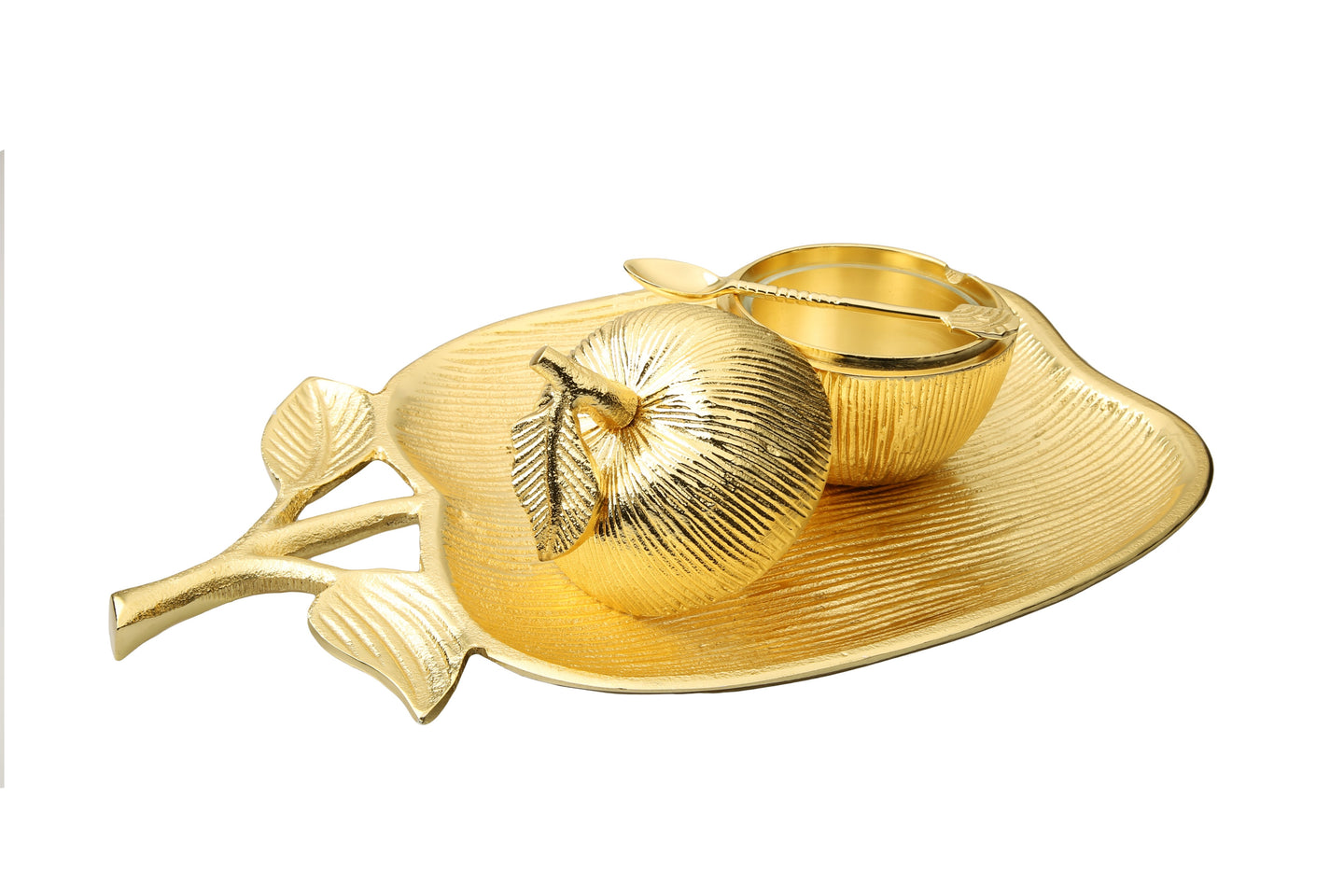 Large Gold Apple Shaped Dish with Removable Honey Jar