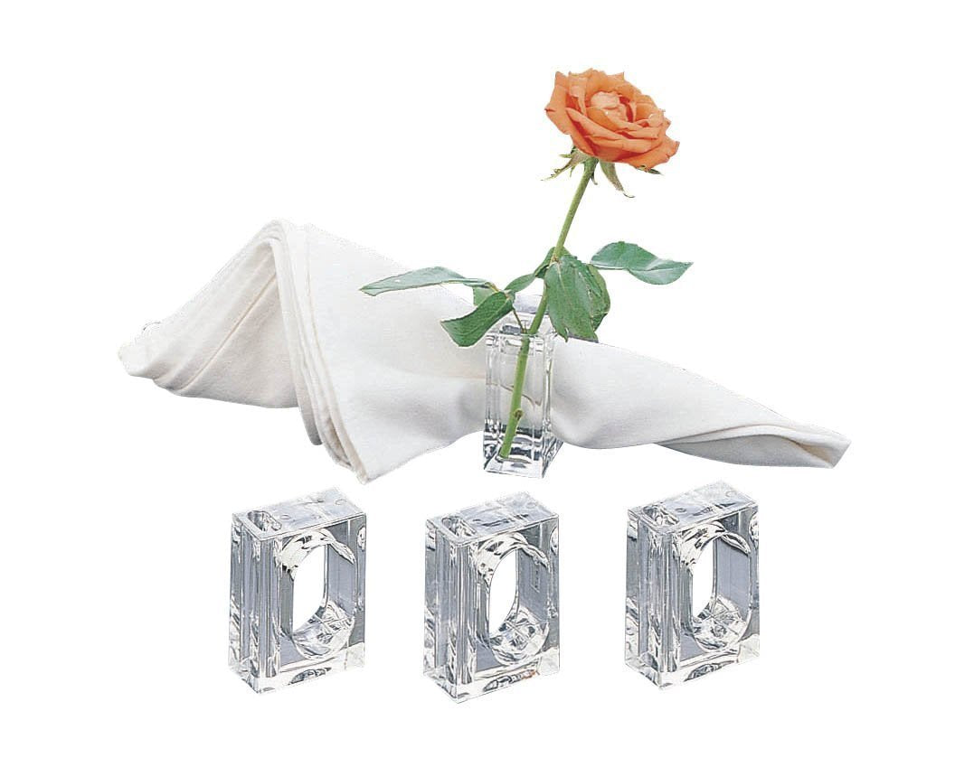 Acrylic Lucite Set of 4 Flower Bud Square Napkin Ring