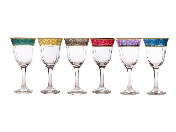 Set of 6 Assorted Colored water Galsses with gold Design