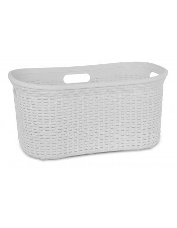 Superio Laundry Basket, Palm Luxe Collection 1.4 Bushel (White)