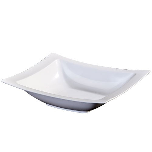 Lillian 12-Ounce Rectangular Plastic Bowls, 10 Count, Pearl