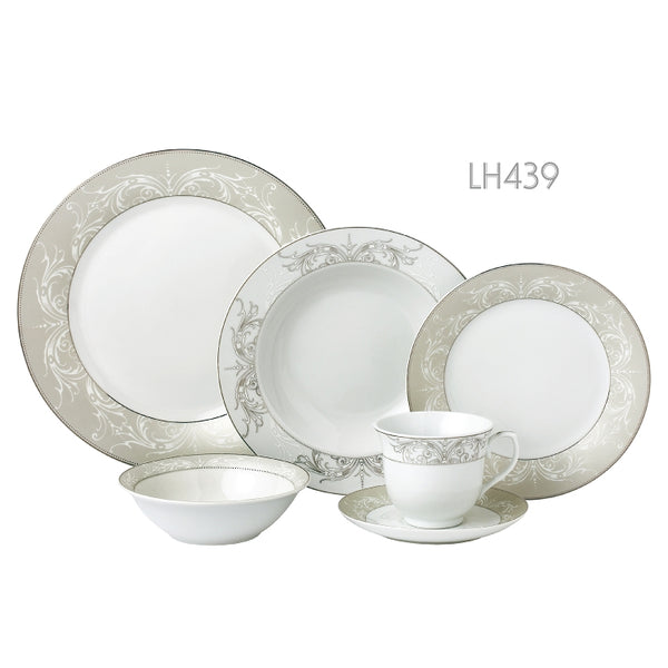 LORREN HOME TRENDS OLYMPIA-MIX AND MATCH 24 PIECE SILVER BORDER PORCELAIN DINNERWARE SET, SERVICE FOR 4