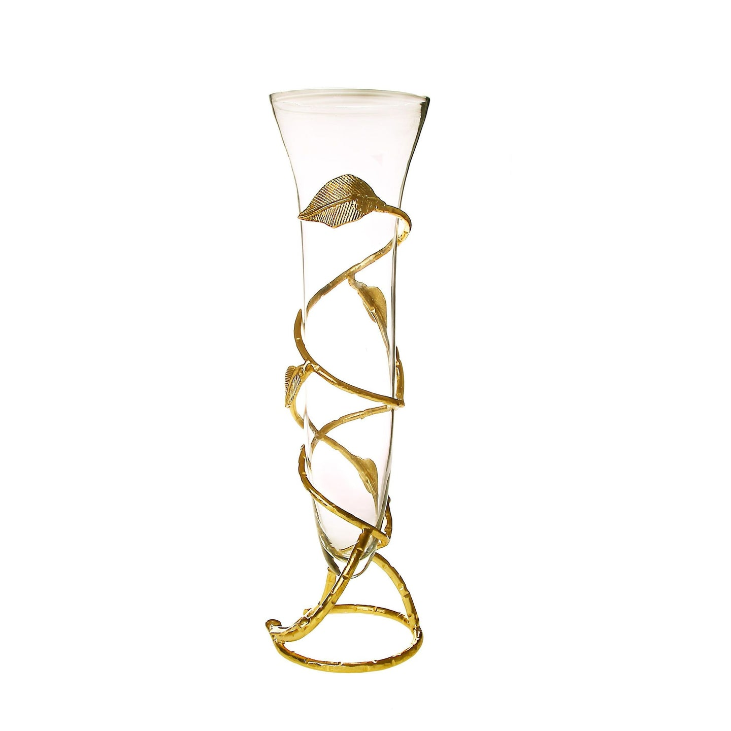 Classic Touch Decor Glass Vase With Gold Leaf Design