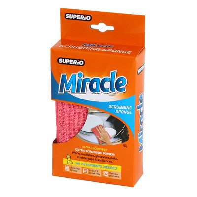 Superio Brand Ultra Microfiber Miracle Scrubbing Sponge Color: Red