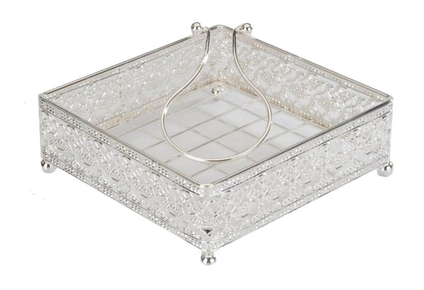 Napkin Holder Flat Wire style with Weighted arm Silver Plated 7.5