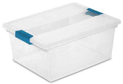 Sterilite Deep Clip Box, Clear with Blue Aquarium Latches,
