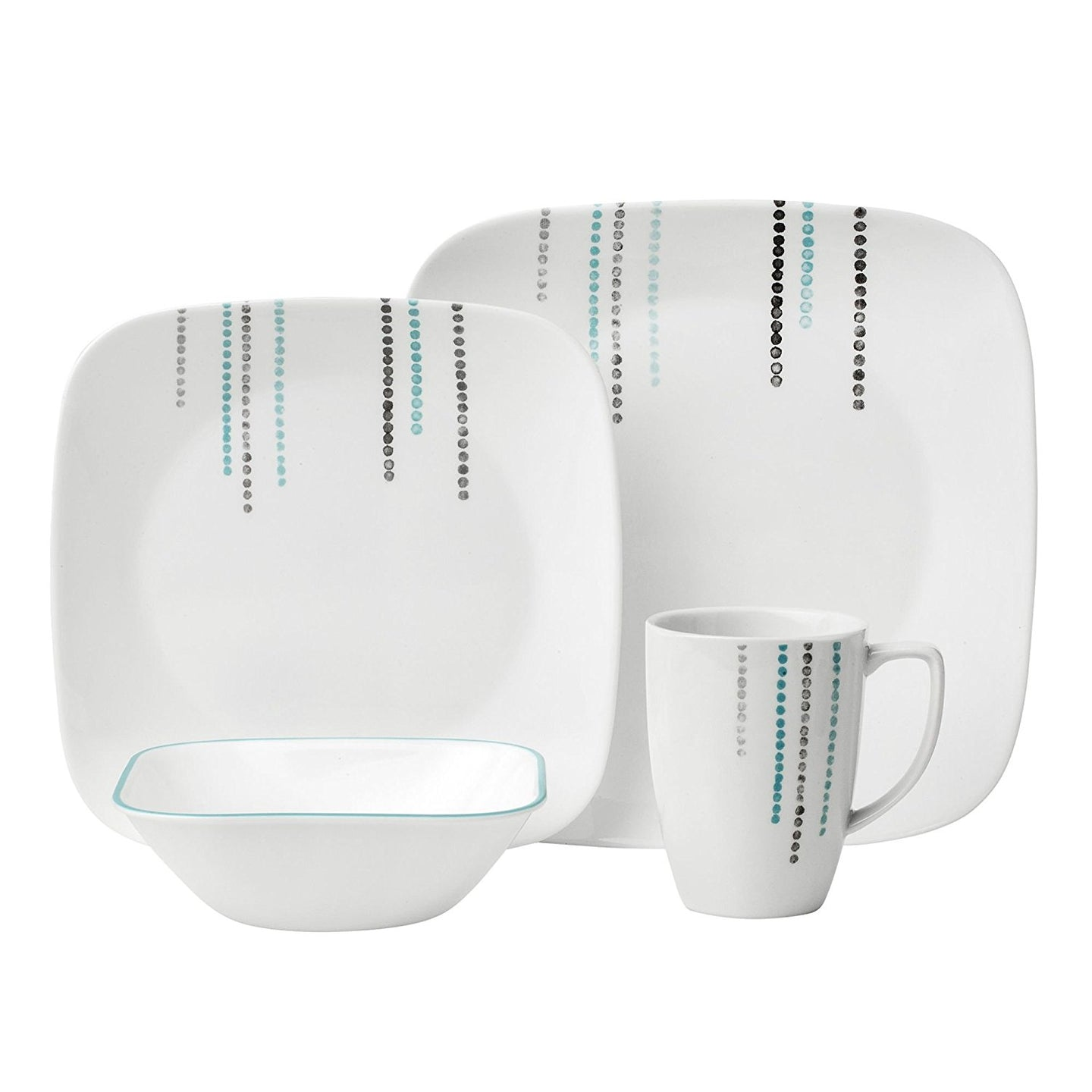 Corelle Boutique White Raindrops Square 16-Piece  Dinnerware Set, Service for 4