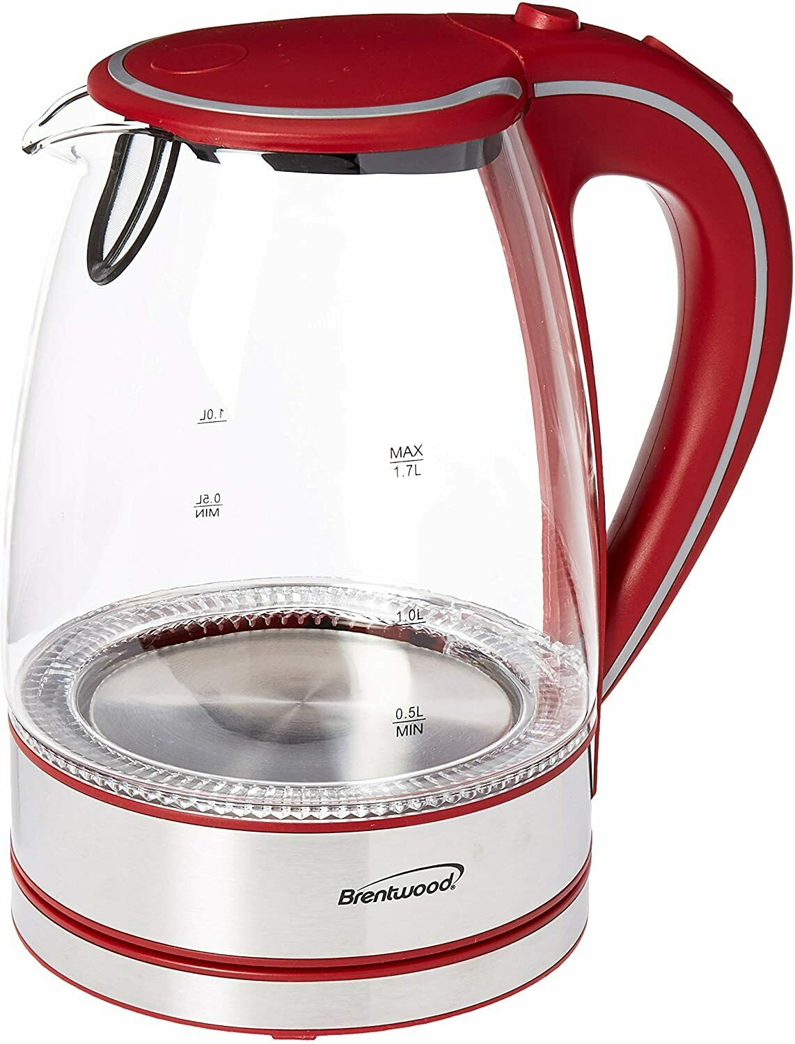 Brentwood 1.7-Liter Cordless Tempered-Glass Electric Kettle (Red)