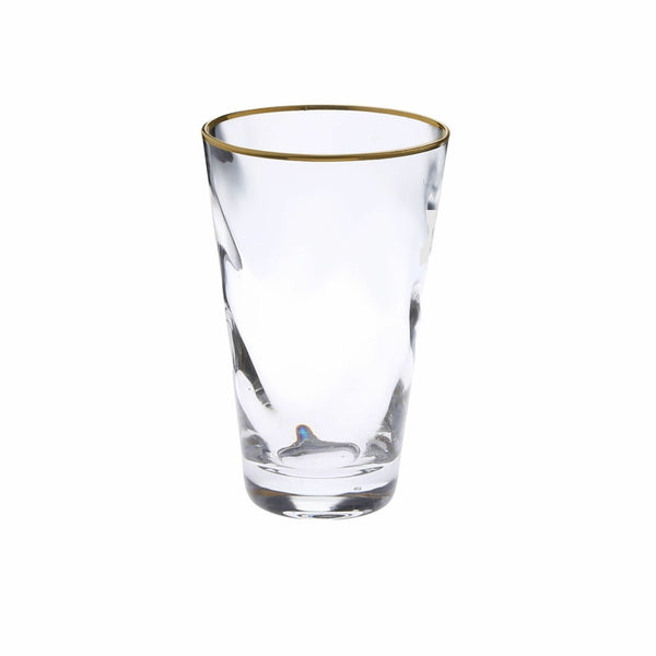 Set Of 6 Pebble Glass Glass Water Tumblers With Gold Rim