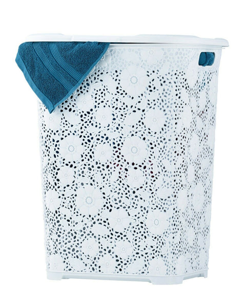 Lace style laundry basket with lid 50L