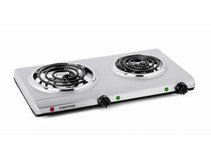 Salton Electric Double-Coil Cooking Range, Stainless Steel