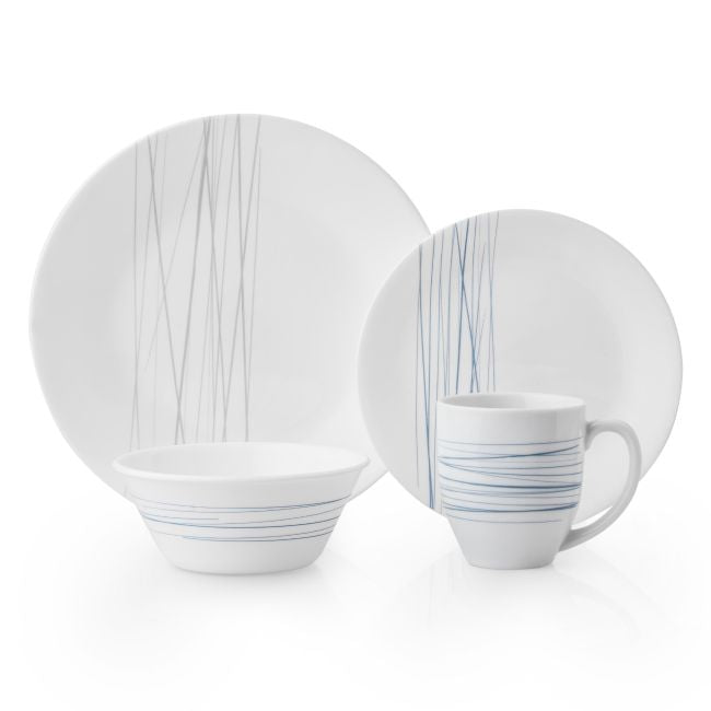 Corelle Boutique Silver Strands 16-Piece Dinnerware Set, Service for 4