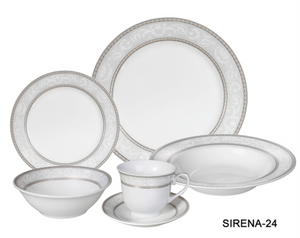 LORREN HOME TRENDS SIRENA DESIGN PORCELAIN DINNERWARE SET, 24 PIECE SERVICE FOR 4