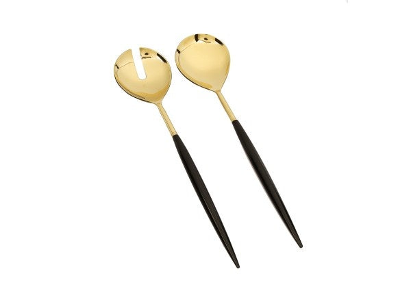 Set of 2 Shiny Gold Salad Servers with Neat Black Handles