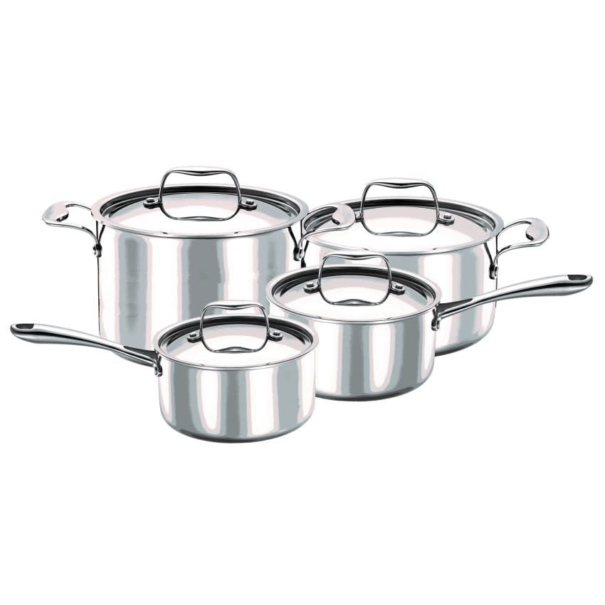 Strauss 3 Ply Integral Cookware Set, 8pc, Silver