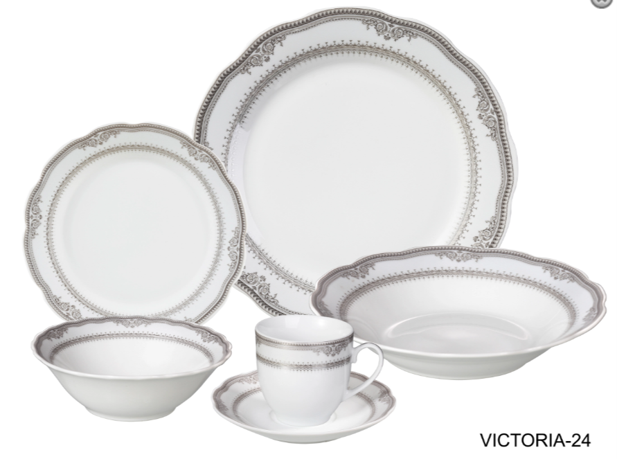 LORREN HOME TRENDS VICTORIA DESIGN PORCELAIN WAVY EDGE DINNERWARE SET, 24 PIECE SERVICE FOR 4