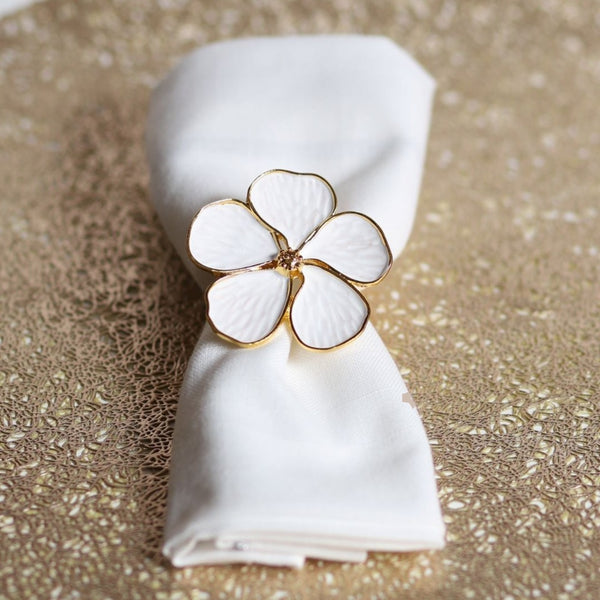 White Flower Napkin Ring