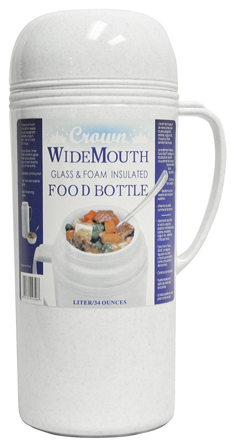 Brentwood Wide Mouth Glass Vacuum/Foam Insulated Food Thermos, 1.0-Liter