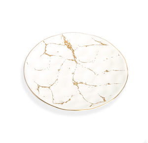 "White and Gold Marble Plate, 6.75"", Set of 4"