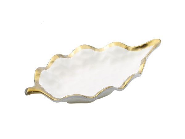 White Porcelain Leaf Dish Bowl with Gold Rim