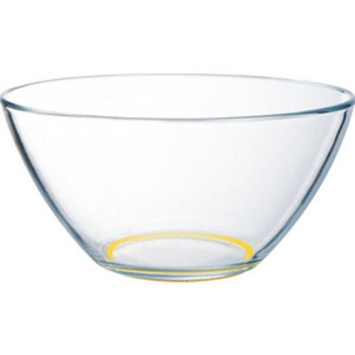 Arc International Glass Salad Bowl With Non-Skid Yellow Silicone Base - 6.5 Inch
