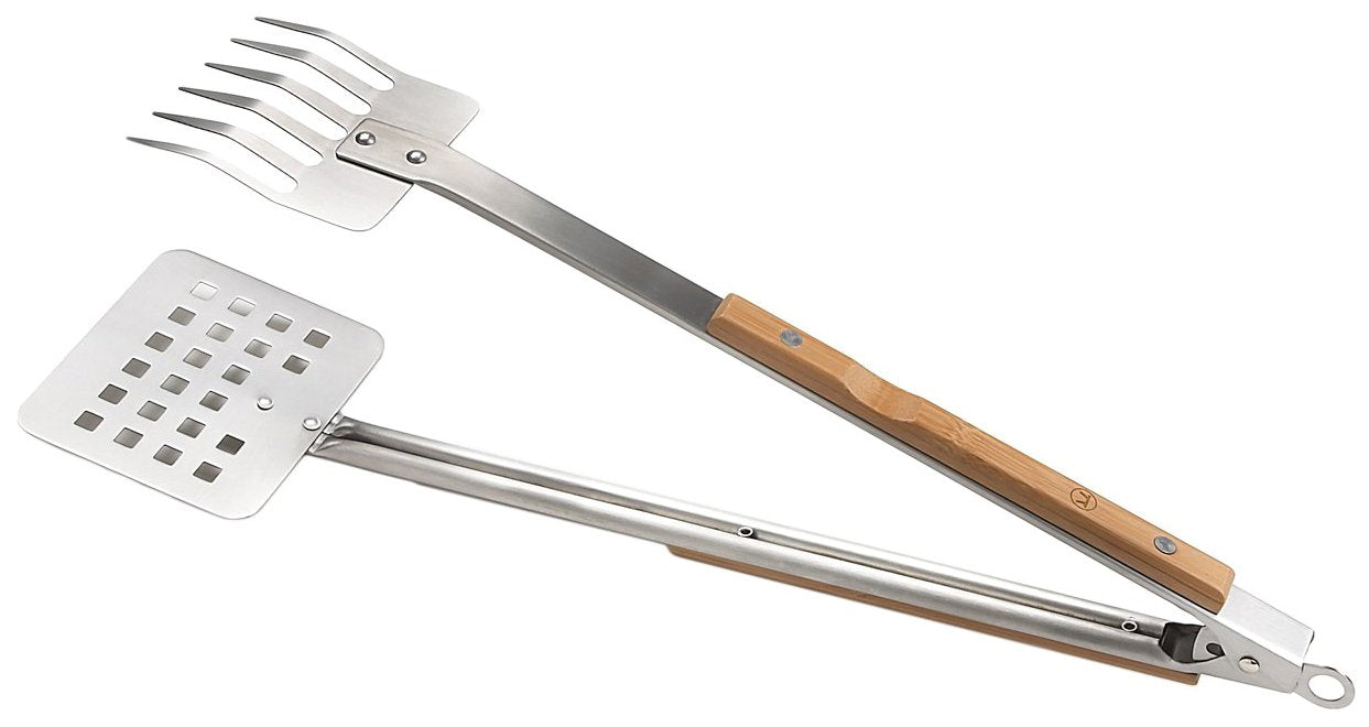 Outset Verde Series BBQ Tongs - Bamboo Handles and Recycled Stainless Steel