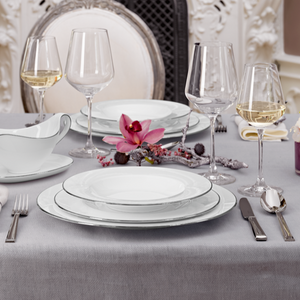 Hostaro Tableware Anmut Platinum tablescape