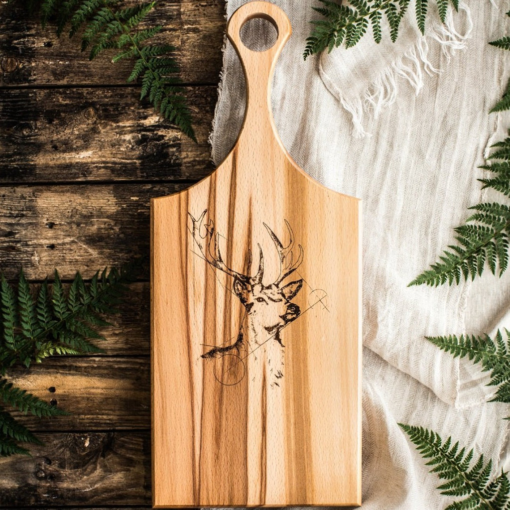 Wooden Paddle board with image of Irish Deer - Hostaro Tableware