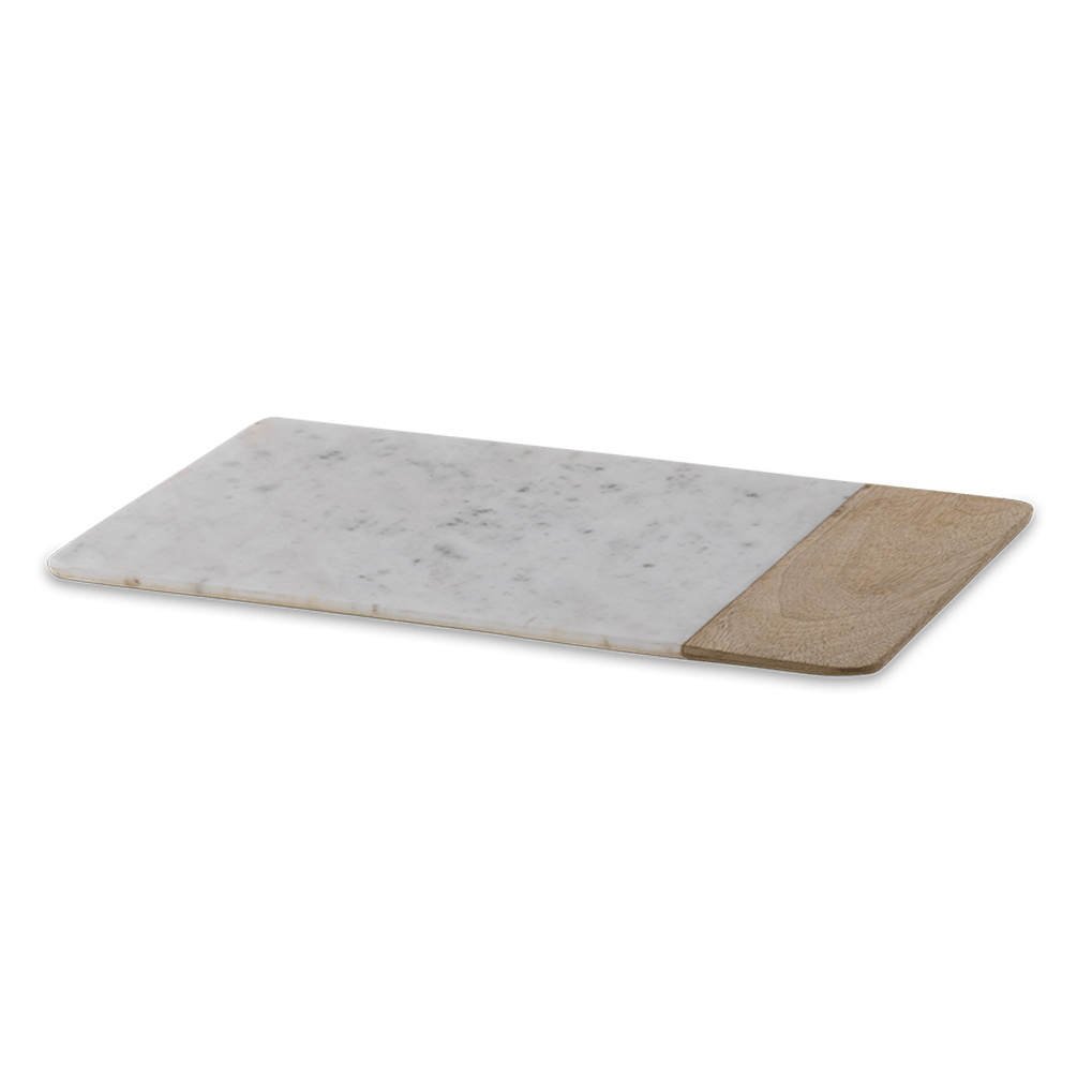 Long marble and mango wood serving board - Large - Hostaro Tableware