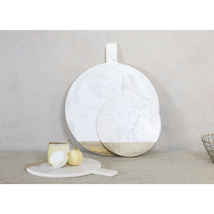 Round marble and mango wood serving board - Hostaro Tableware