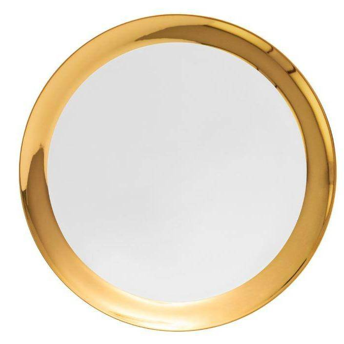 Round flat platter with large gold rim - Hostaro Tableware