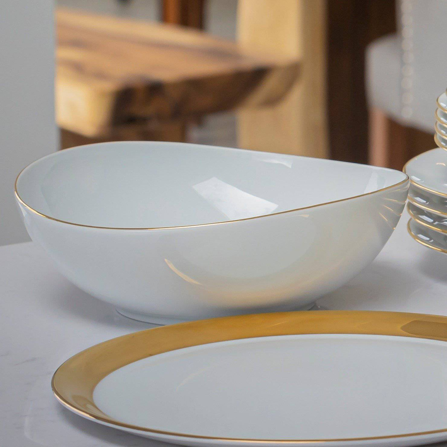 Serving bowl with gold rim - Hostaro Tableware