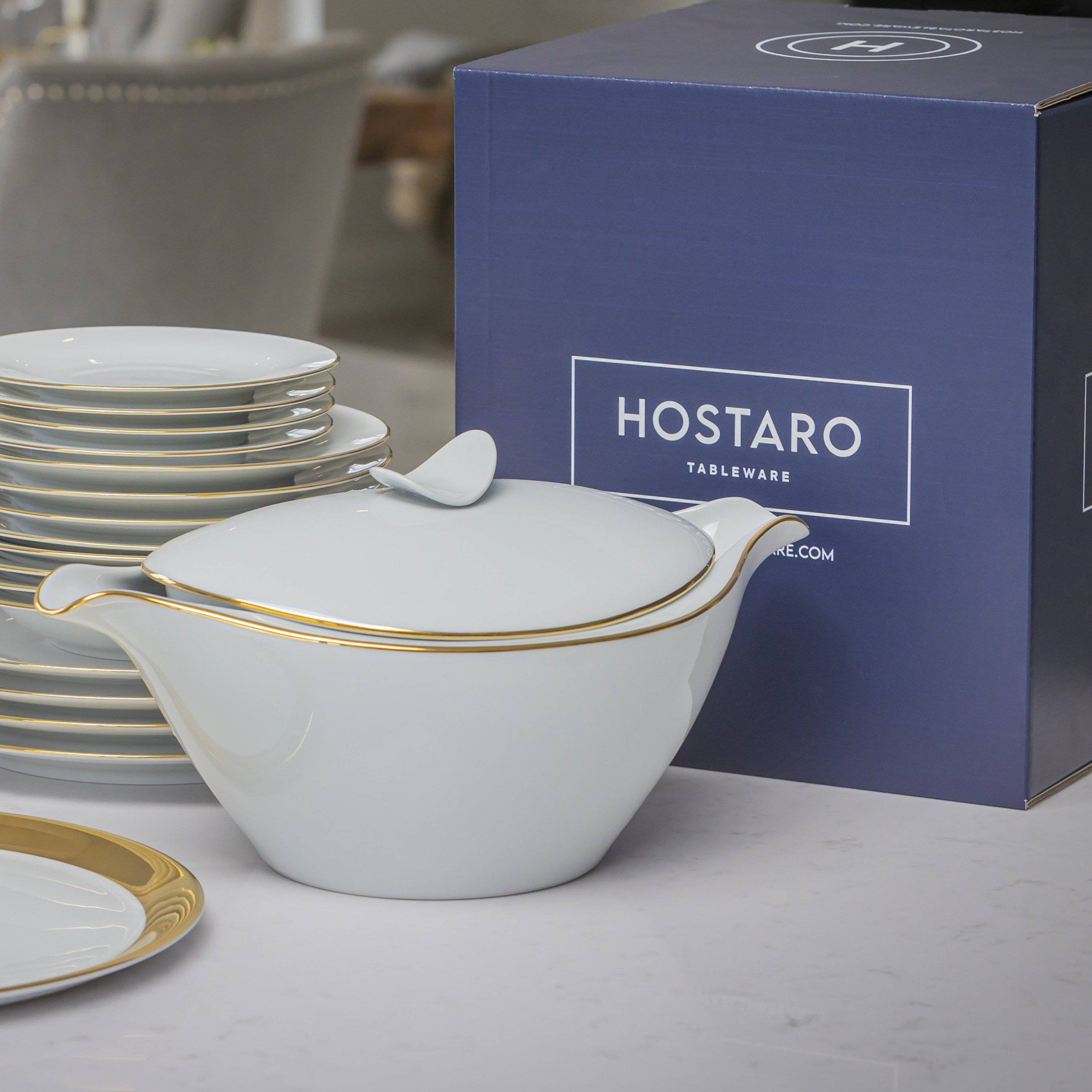 Tureen with gold rim - Hostaro Tableware