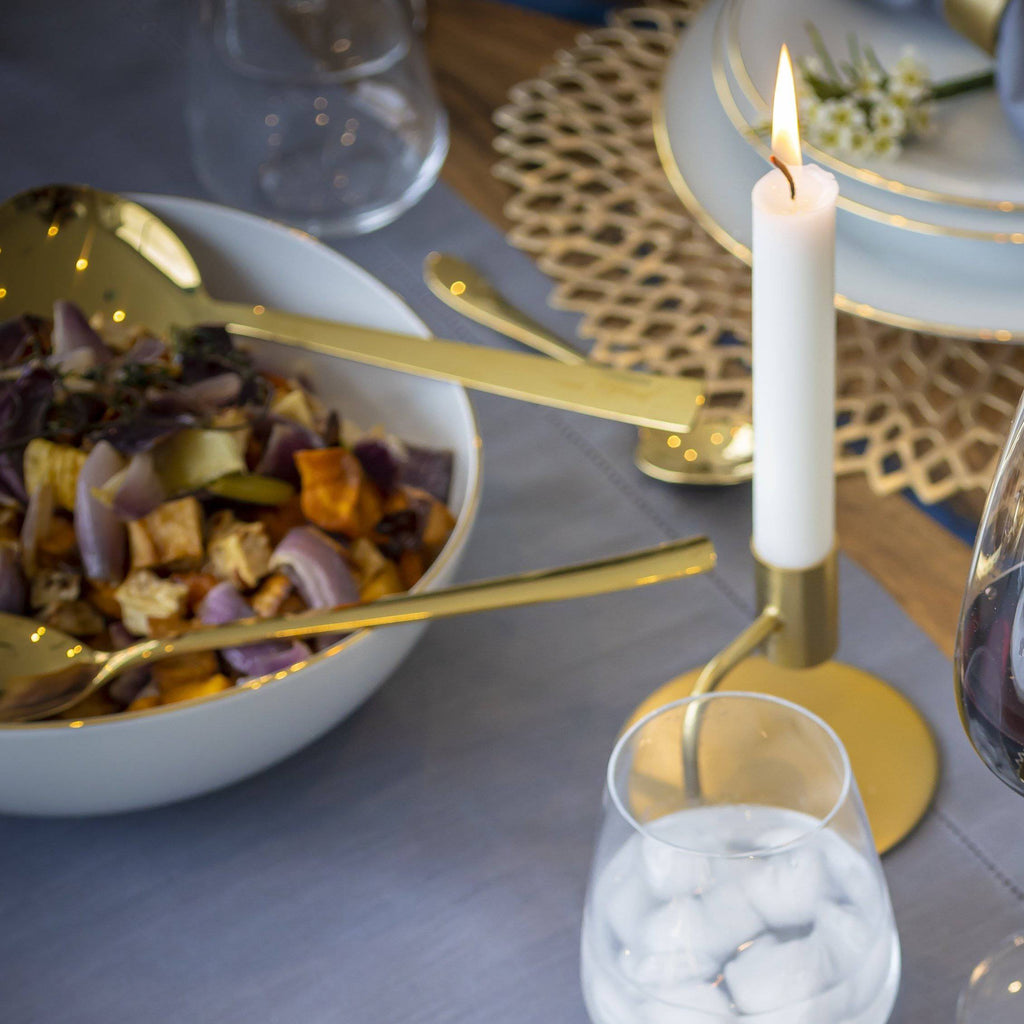 Salad serving gold spoon and fork - Hostaro Tableware