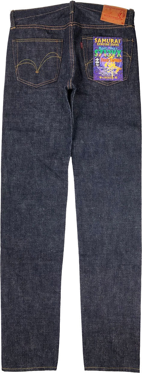 "SAMURAI S713VX ""ZERO BUSHIDO"" 17OZ SLUB DENIM JEANS SLIM TAPERED"