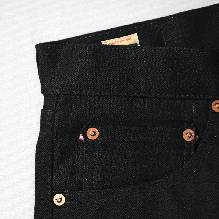 "MOMOTARO ""0306-B"" 15,7OZ BLACK X BLACK SELVEDGE DENIM TIGHT TAPERED JEANS"