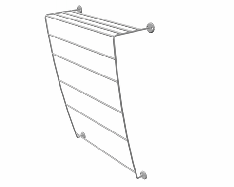 Wall-mount multiple towel rails with integrated top shelf.