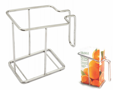 "Avoid excessive ""squeezing"" of milk, fruit juice and wine cartons with this clever holder. Fits all standard cartons."