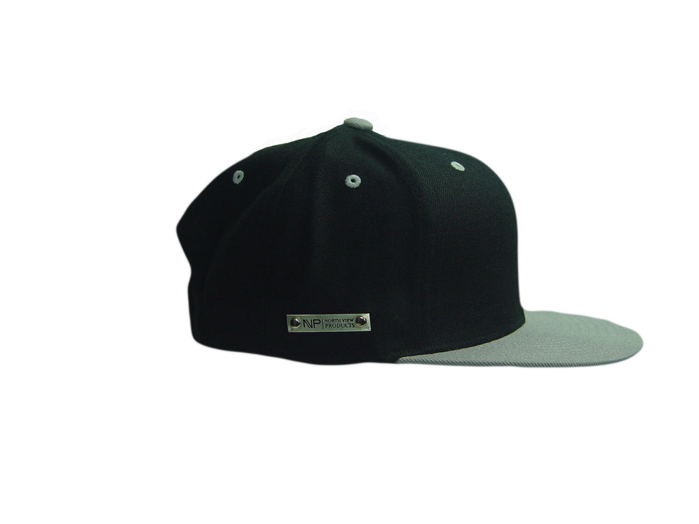 Load image into Gallery viewer, Silver Tag Blk & Gry Flat Bill Hat