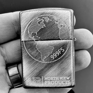 Load image into Gallery viewer, NVP Sterling Silver World Gramsy Zippo
