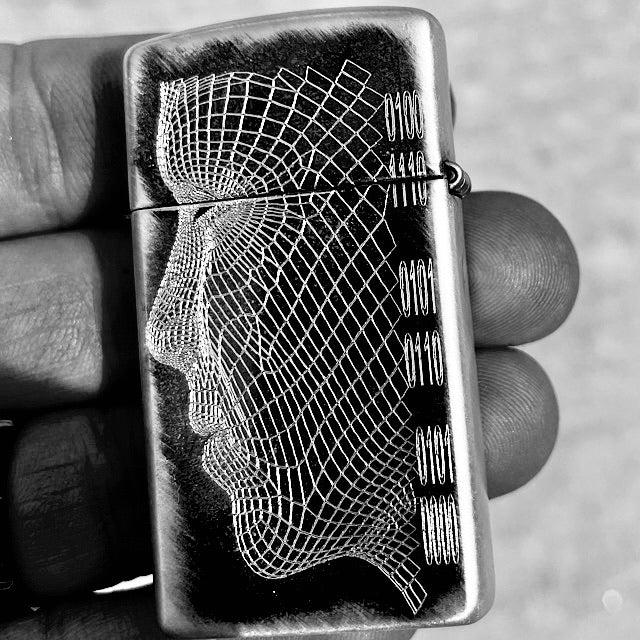 Load image into Gallery viewer, NVP Sterling Silver Line Art Zippo Slim