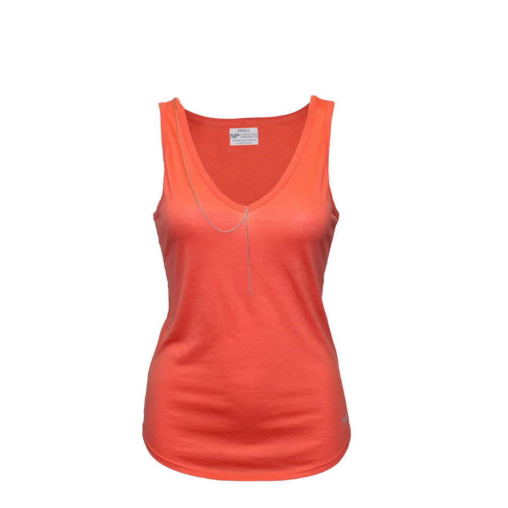Silver Tag V Neck (Salmon)