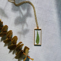 Gold rectangle fern necklace